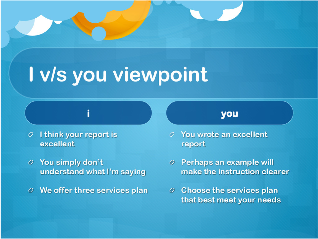 I v/s you viewpoint i !  I think your report i...