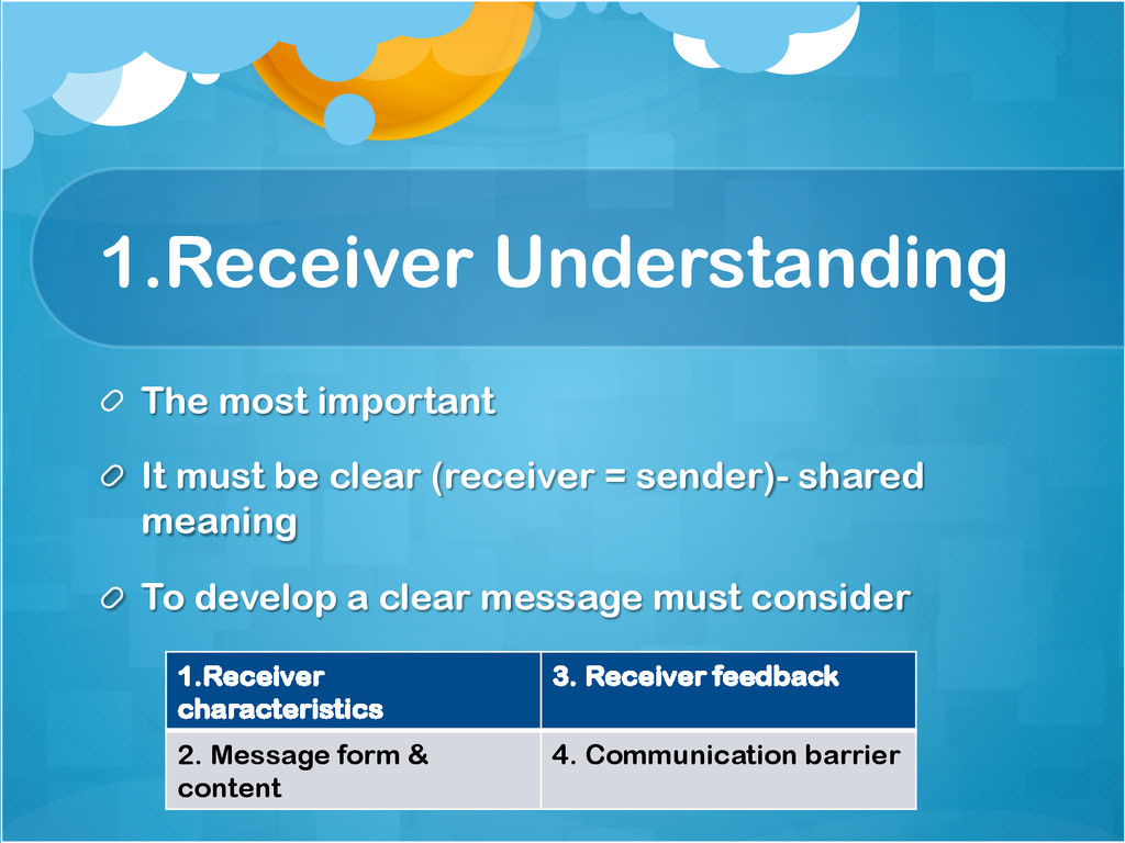 1.Receiver Understanding !  The most important...