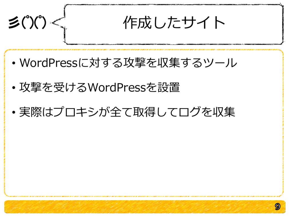 彡(゚)(゚) 作成したサイト • WordPressに対する攻撃を収集するツール • 攻撃を...