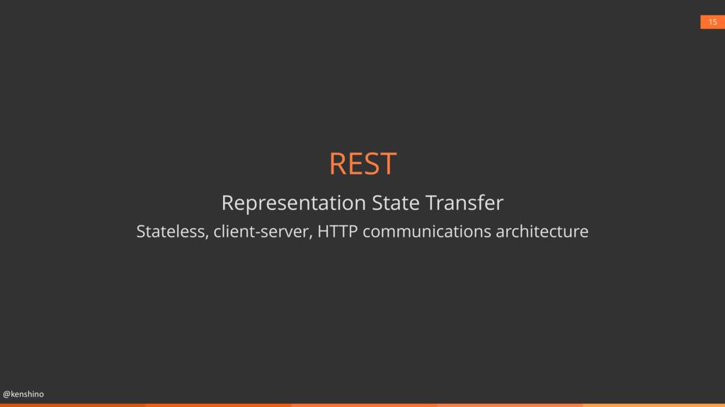 @kenshino 15 REST Representation State Transfer...