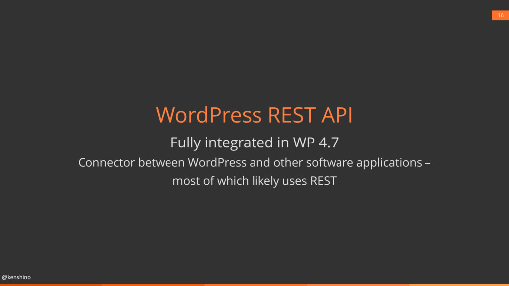 @kenshino 16 WordPress REST API Fully integrate...