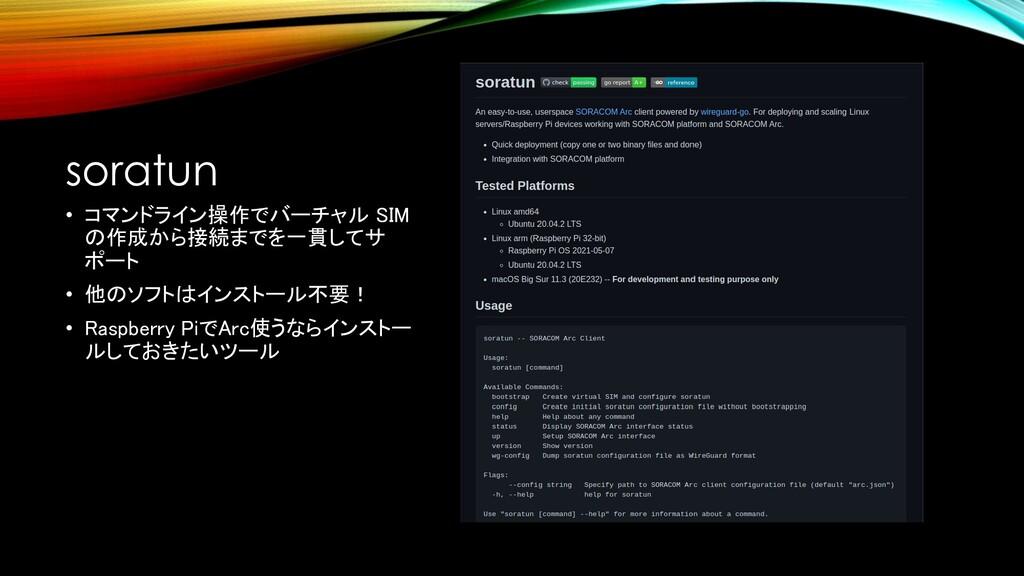 soratun • コマンドライン操作でバーチャル SIM の作成から接続までを一貫してサ ポ...