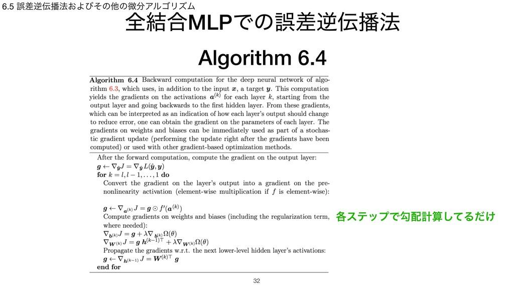 શ݁߹MLPͰͷޡࠩٯ๏ Algorithm 6.4 6.5 ޡࠩٯ๏͓Αͼͦͷଞͷඍ...