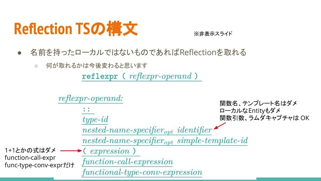 Reflection TSの構文 ● 名前を持ったローカルではないものであればReflecti...