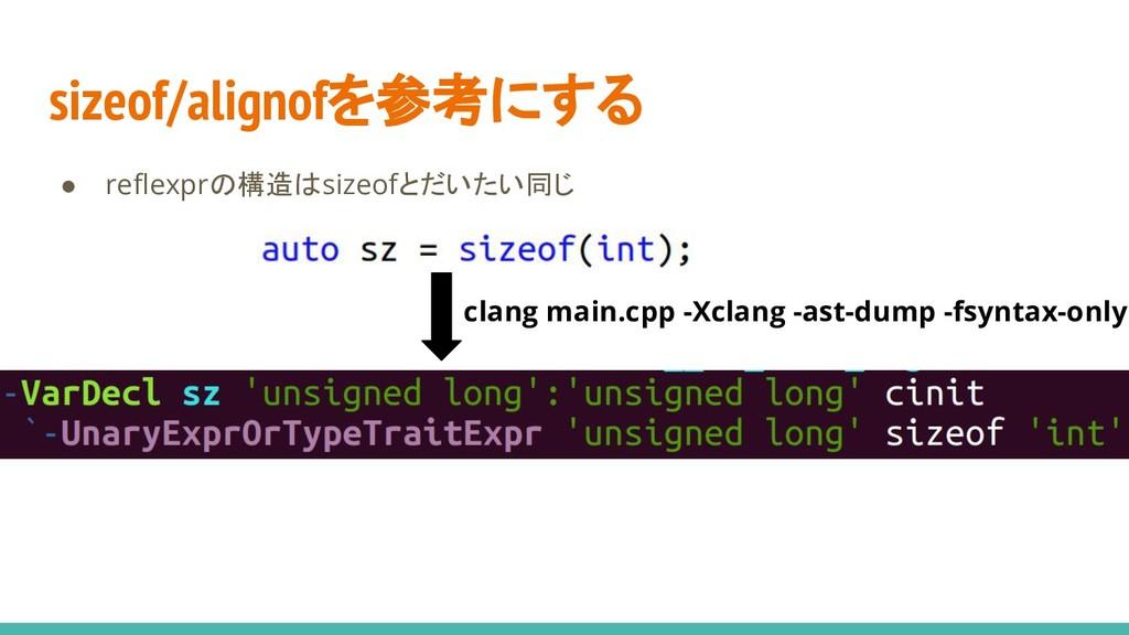 sizeof/alignofを参考にする ● reflexprの構造はsizeofとだいたい同...