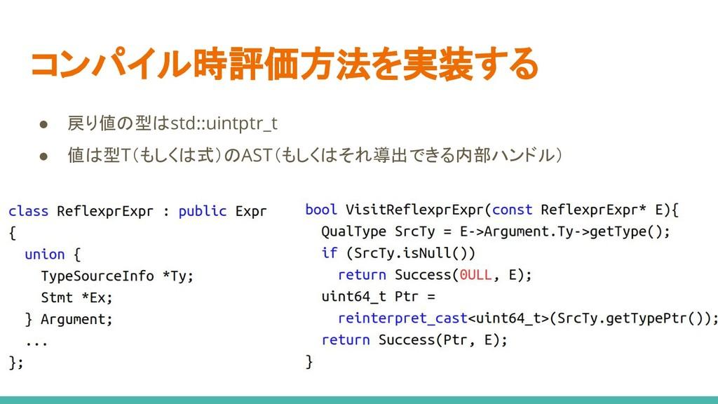 コンパイル時評価方法を実装する ● 戻り値の型はstd::uintptr_t ● 値は型T(も...