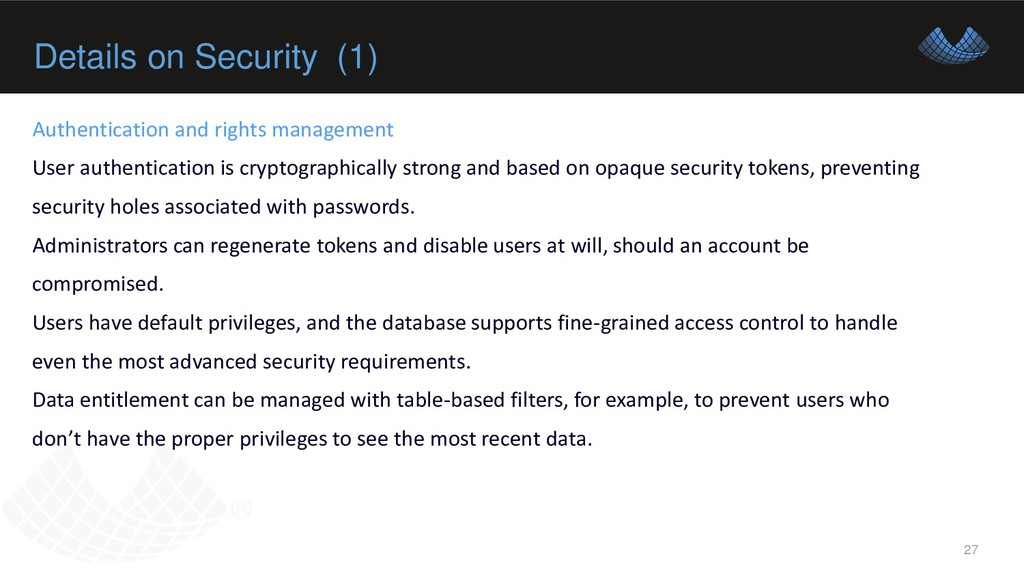 Details on Security (1) 27 Authentication and r...