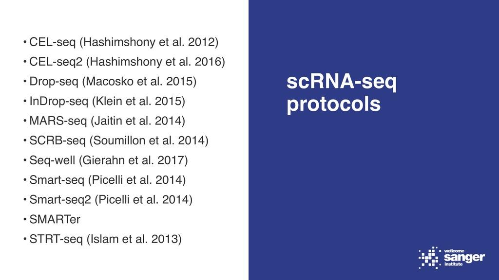 • CEL-seq (Hashimshony et al. 2012) • CEL-seq2 ...