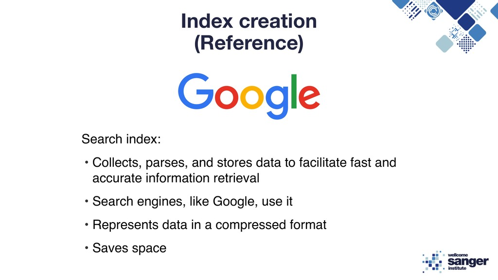 Index creation (Reference) Search index: • Coll...