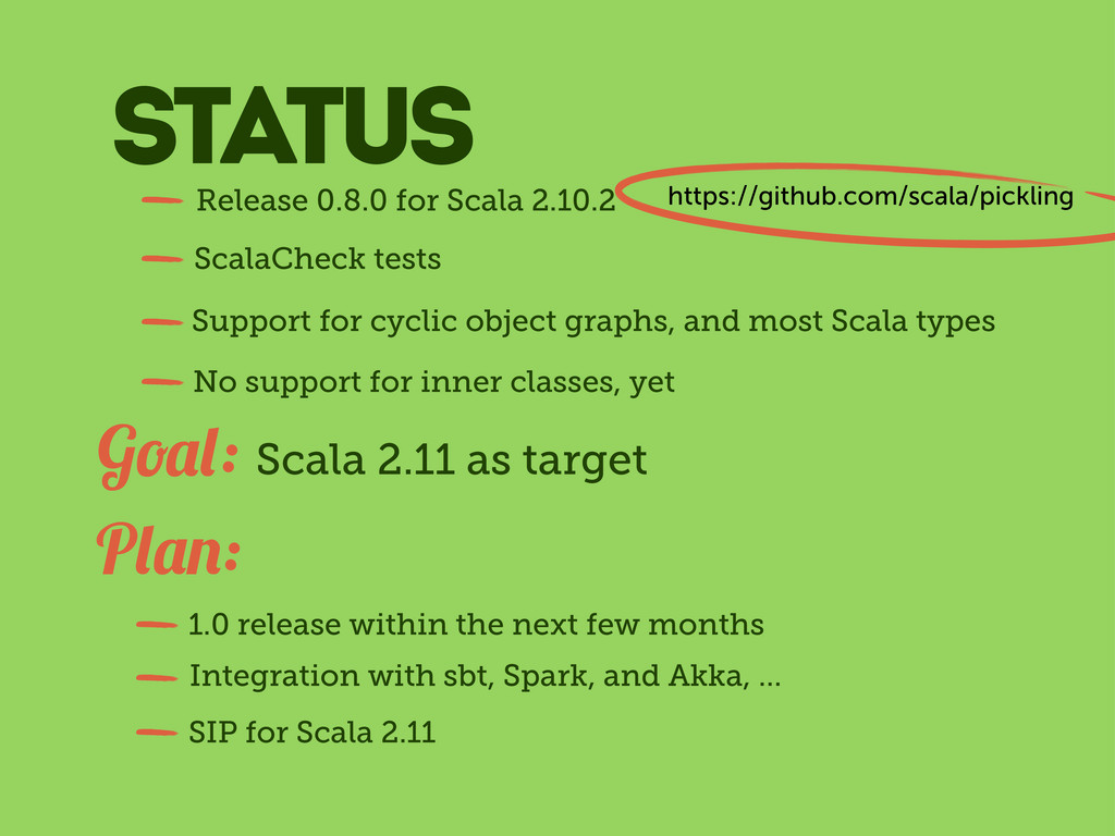 Scala 2.11 as target G : P : 1.0 release within...