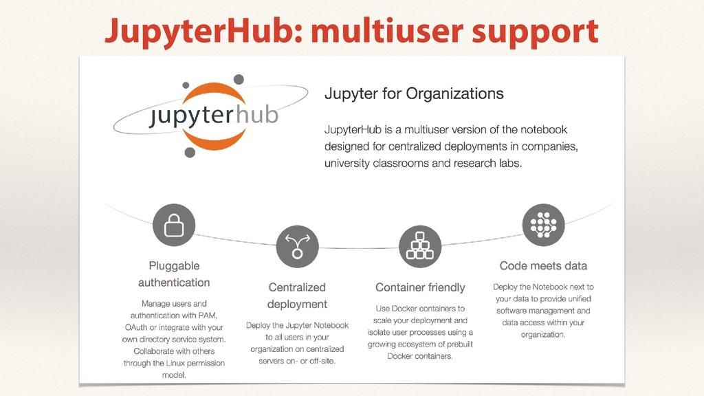 JupyterHub: multiuser support