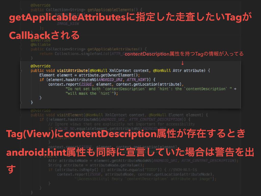 Tag(View)ʹcontentDescriptionଐੑ͕ଘࡏ͢Δͱ͖ android:...