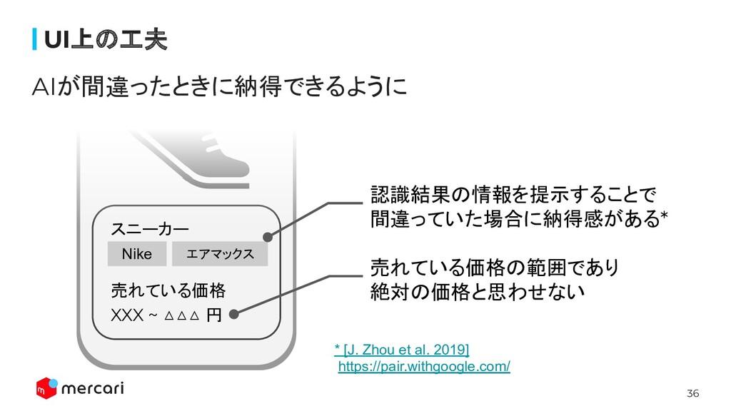 36 スニーカー 売れている価格 XXX ~ △△△ 円 Nike エアマックス UI上の工夫...