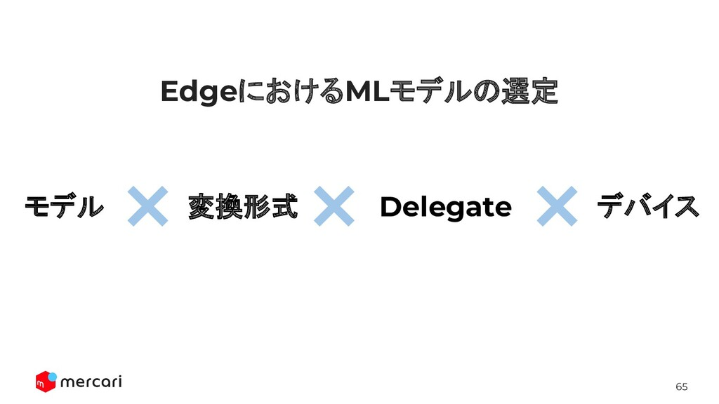 65 EdgeにおけるMLモデルの選定 変換形式 Delegate デバイス モデル