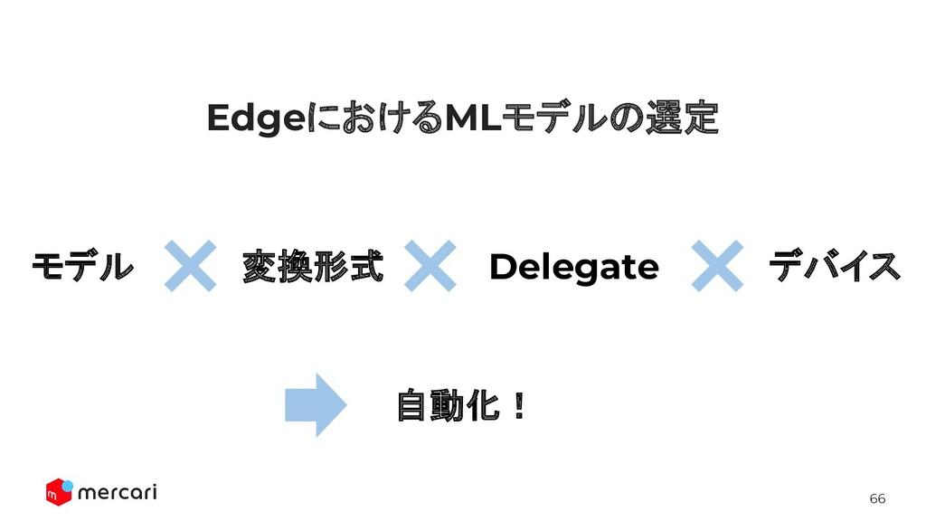 66 EdgeにおけるMLモデルの選定 変換形式 Delegate デバイス モデル 自動化!