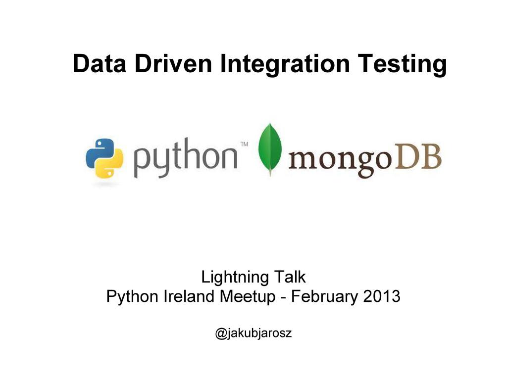 Lightning Talk Python Ireland Meetup - February...