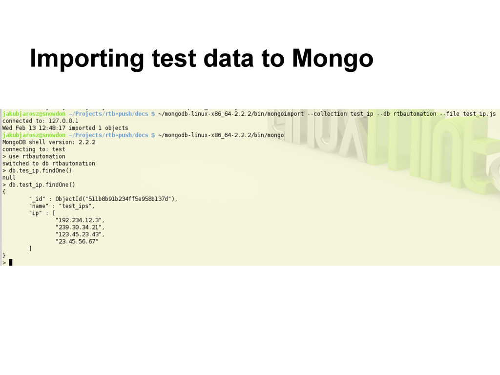 Importing test data to Mongo