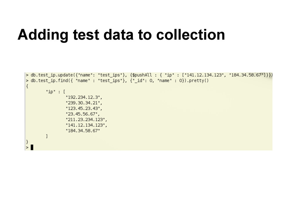 Adding test data to collection