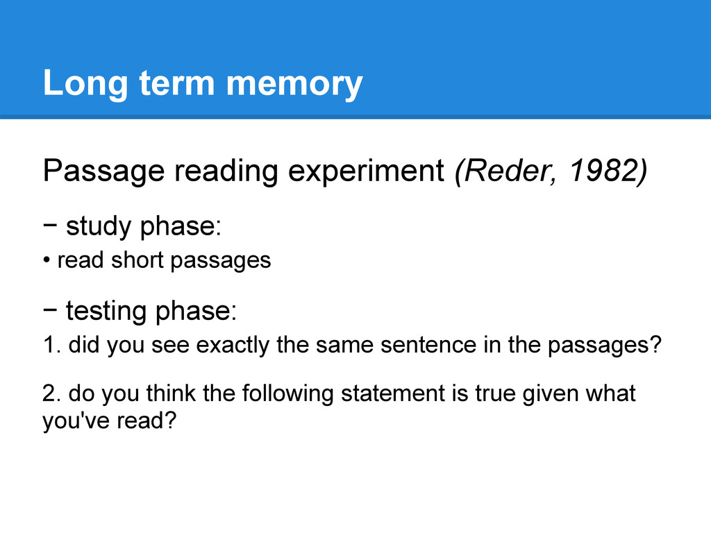 Long term memory Passage reading experiment (Re...