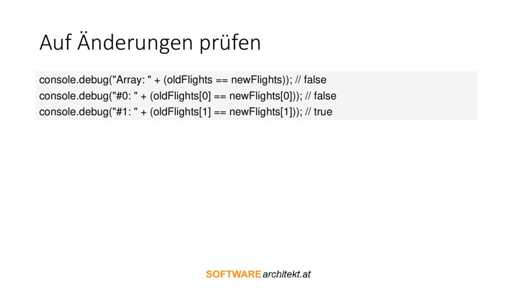 """Auf Änderungen prüfen console.debug(""""Array: """" +..."""