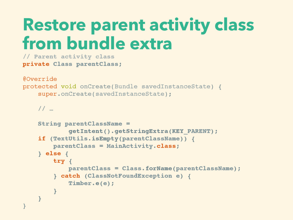 Restore parent activity class from bundle extr...
