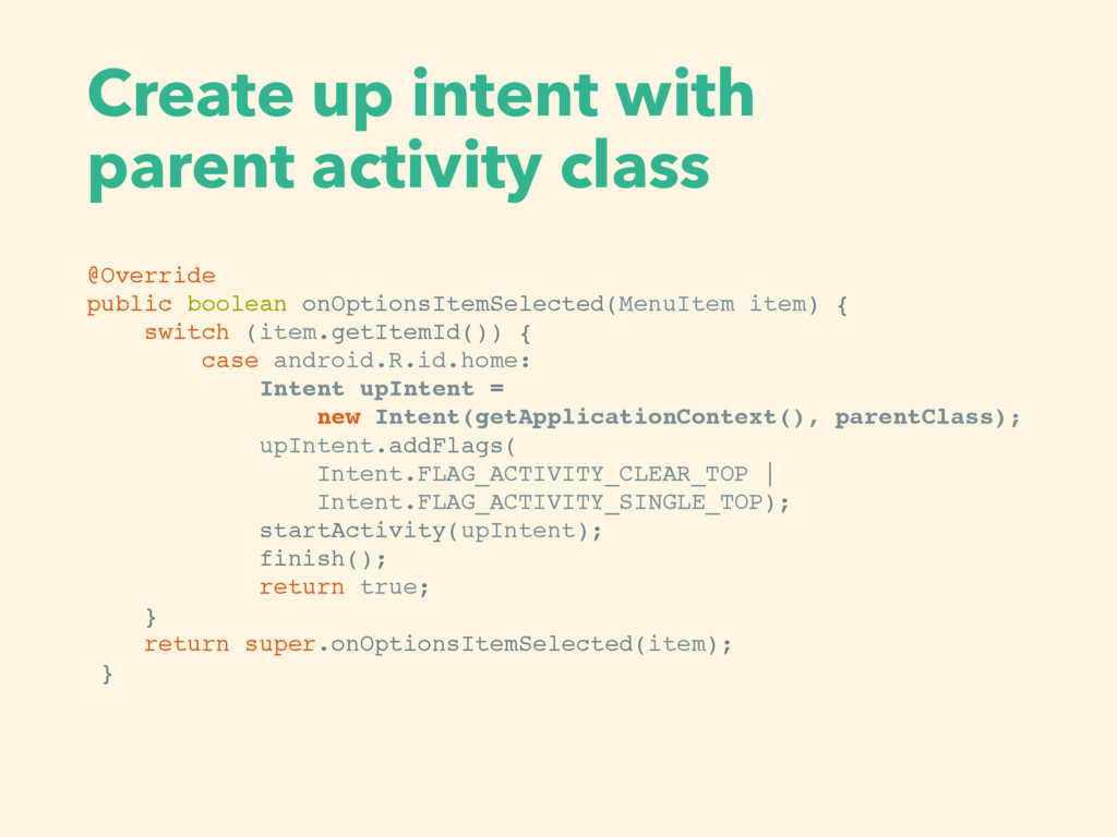Create up intent with  parent activity class @...
