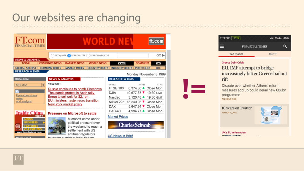 Our websites are changing !=