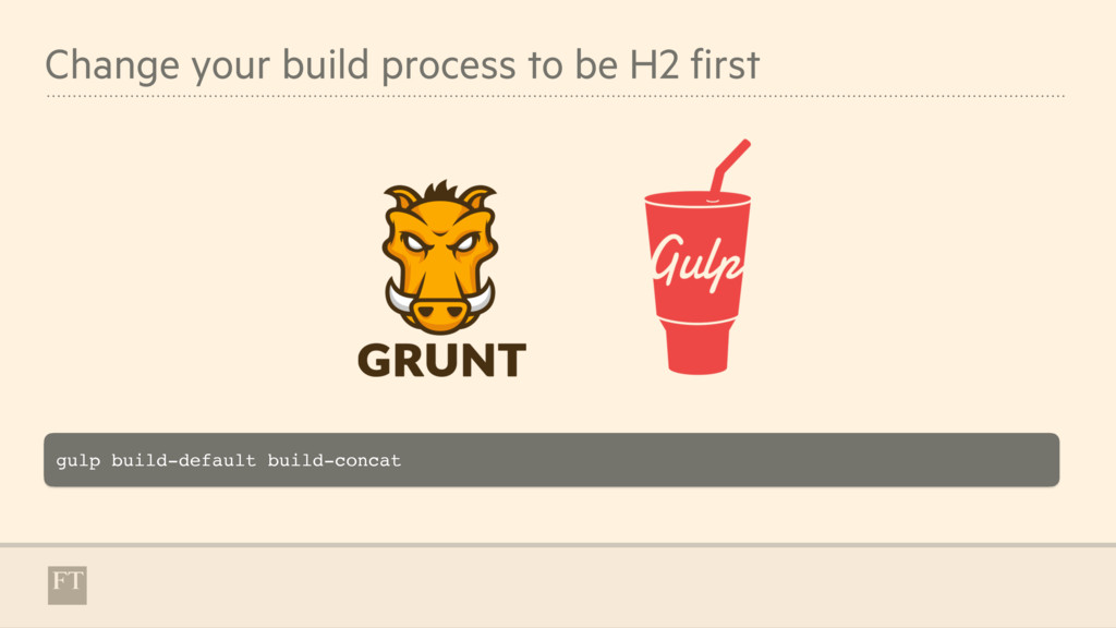 Change your build process to be H2 first gulp b...