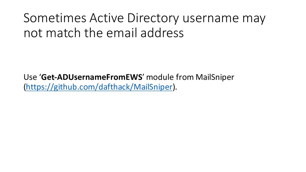 Sometimes Active Directory username may not mat...
