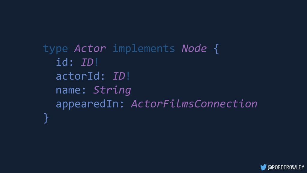 type Actor implements Node { id: ID! actorId: I...