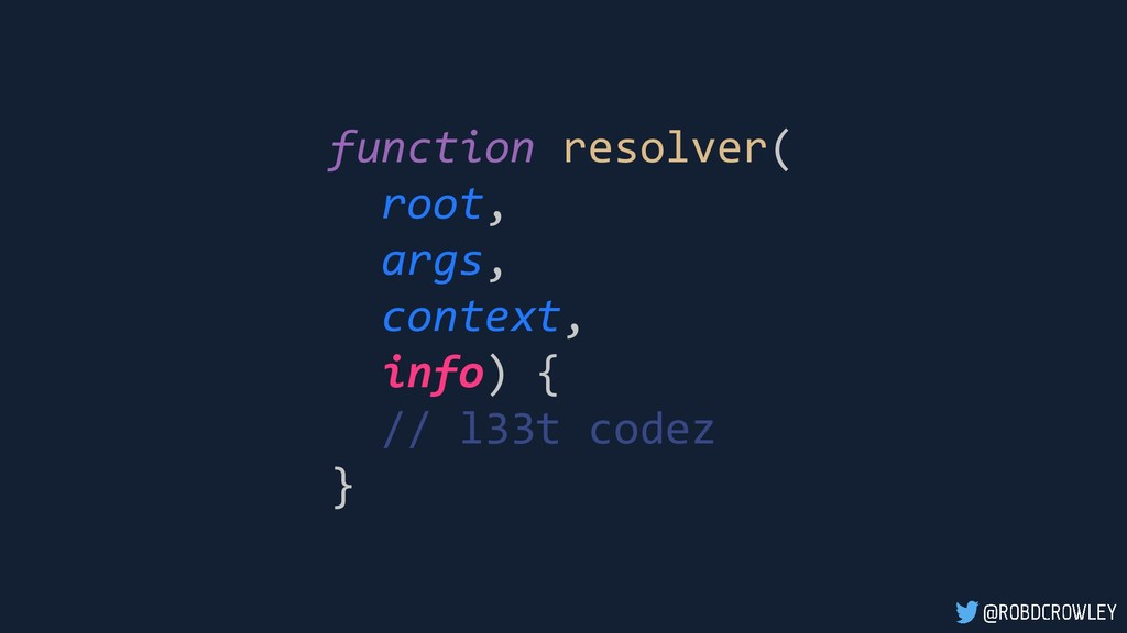 function resolver( root, args, context, info) {...