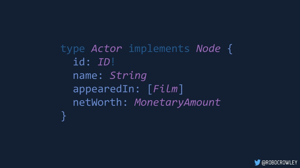 type Actor implements Node { id: ID! name: Stri...