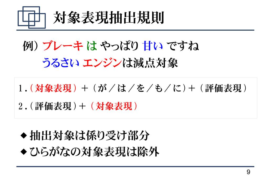 9 対象表現抽出規則  抽出対象は係り受け部分  ひらがなの対象表現は除外 1 . ( (...