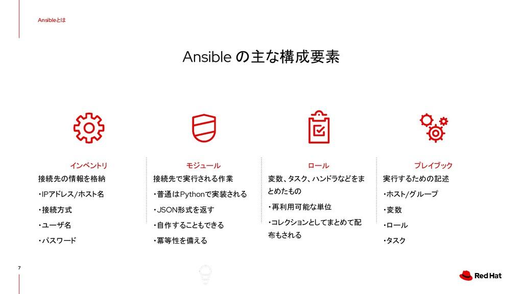 Ansible の主な構成要素 Ansibleとは 7 接続先の情報を格納 ・IPアドレス/ホ...