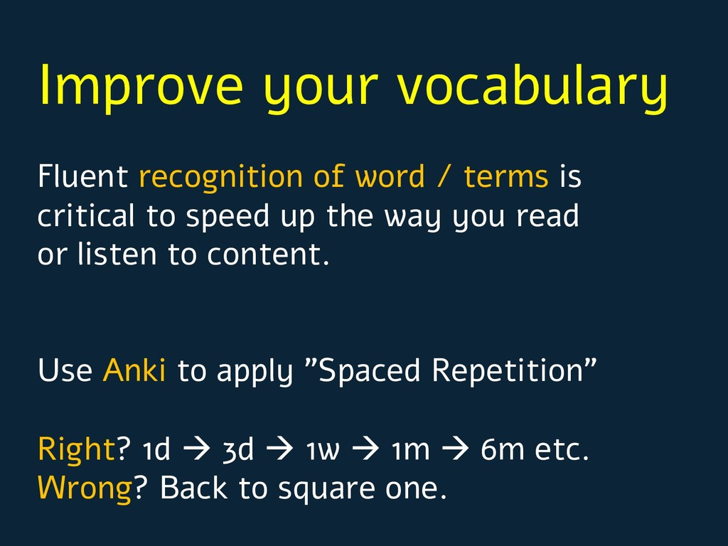 Improve your vocabulary Fluent recognition of w...