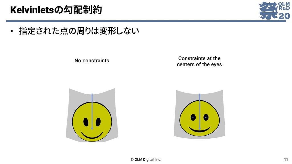 Kelvinletsの勾配制約 • 指定された点の周りは変形しない © OLM Digital...