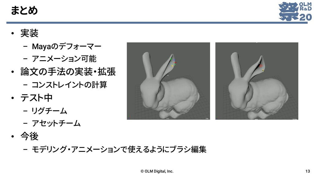まとめ • 実装 – Mayaのデフォーマー – アニメーション可能 • 論文の手法の実装・拡...