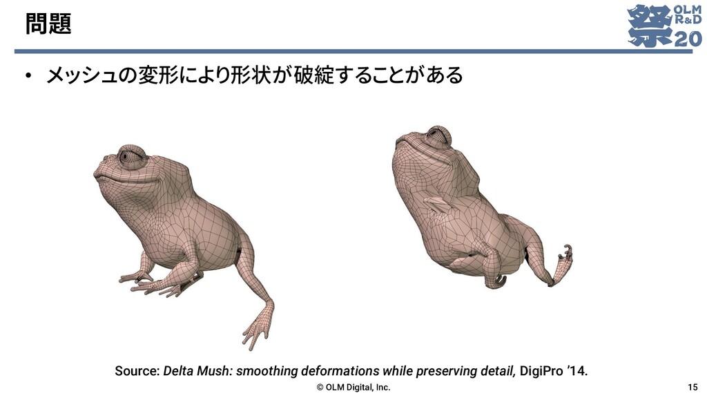 問題 • メッシュの変形により形状が破綻することがある © OLM Digital, Inc....