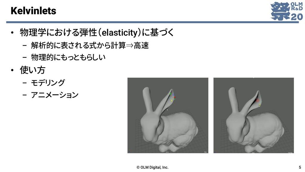 Kelvinlets • 物理学における弾性(elasticity)に基づく – 解析的に表さ...