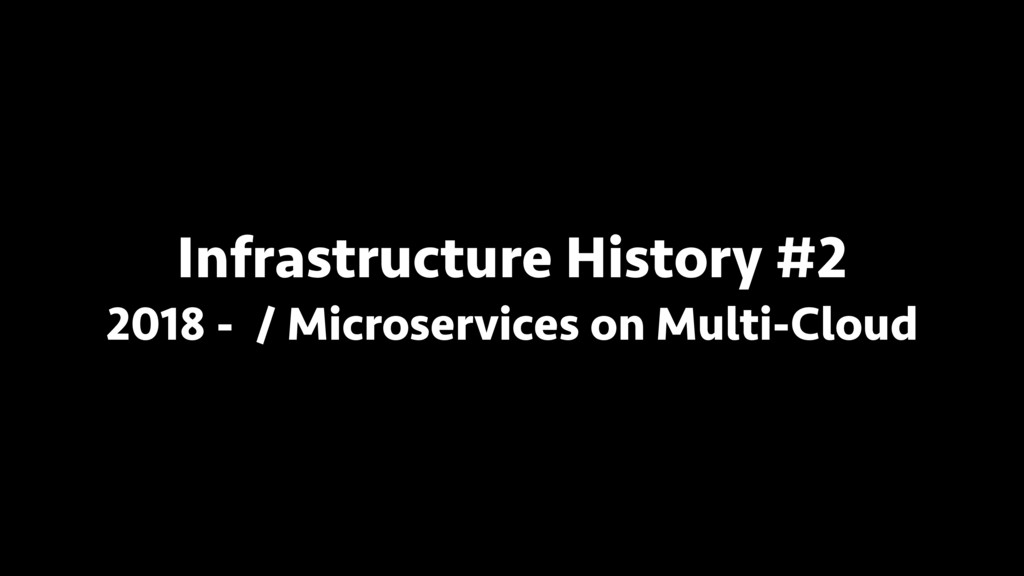 Infrastructure History #2 2018 - / Microservice...