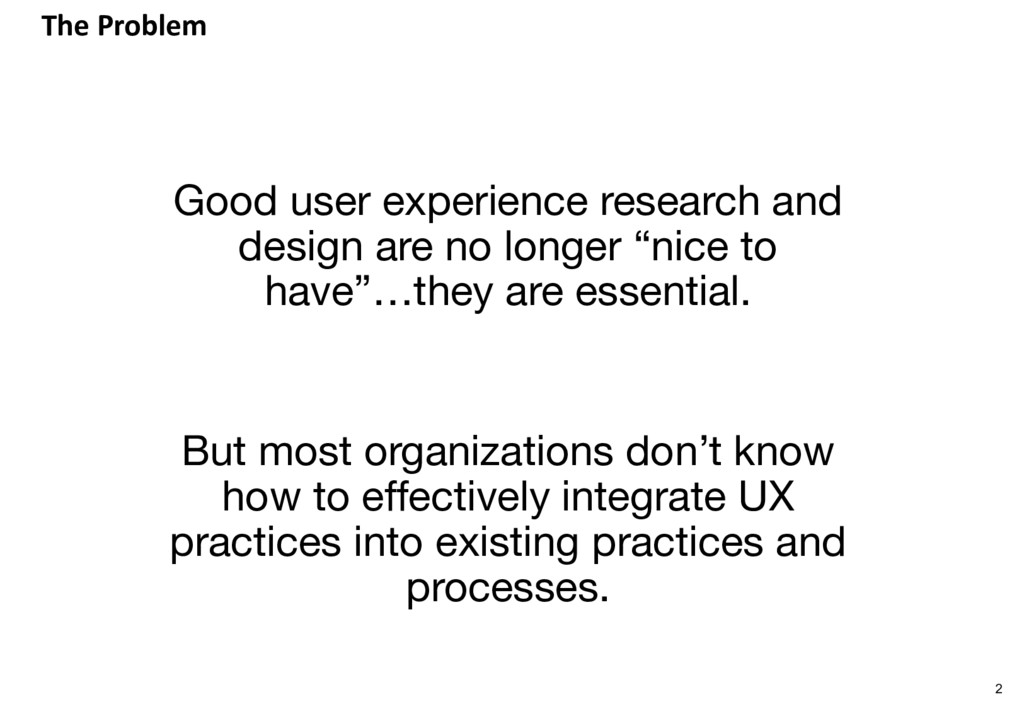 The Problem Good user experience research and d...