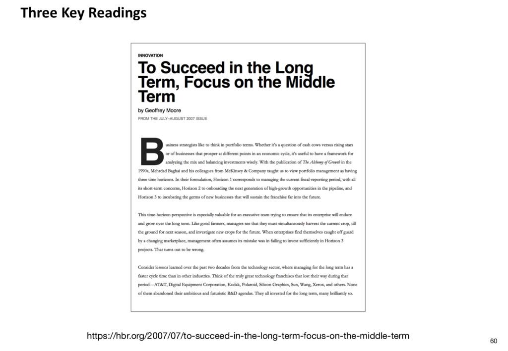 Three Key Readings https://hbr.org/2007/07/to-s...