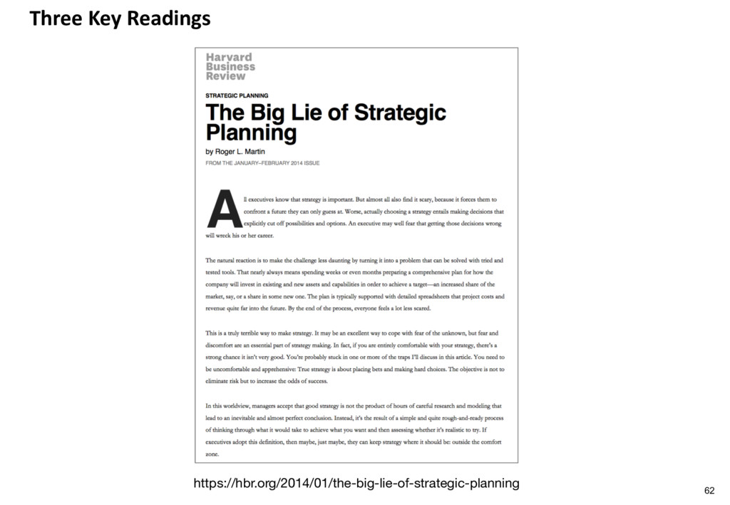 Three Key Readings https://hbr.org/2014/01/the-...