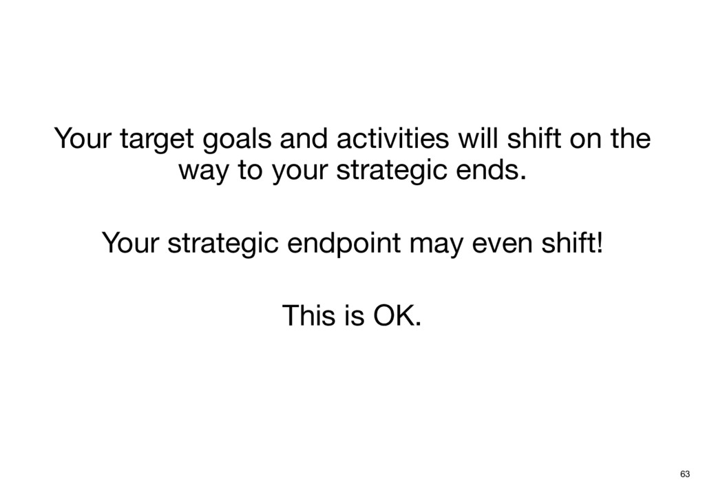 Your target goals and activities will shift on ...