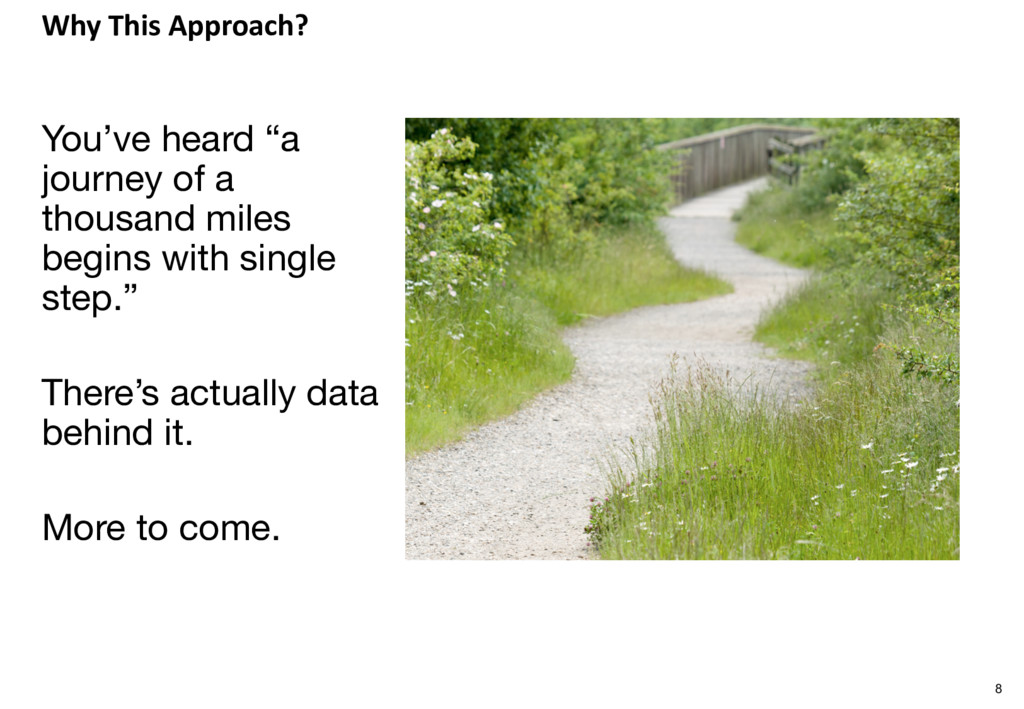 """Why This Approach? 8 You've heard """"a journey of..."""