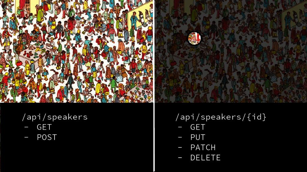 /api/speakers - GET - POST /api/speakers/{id} -...
