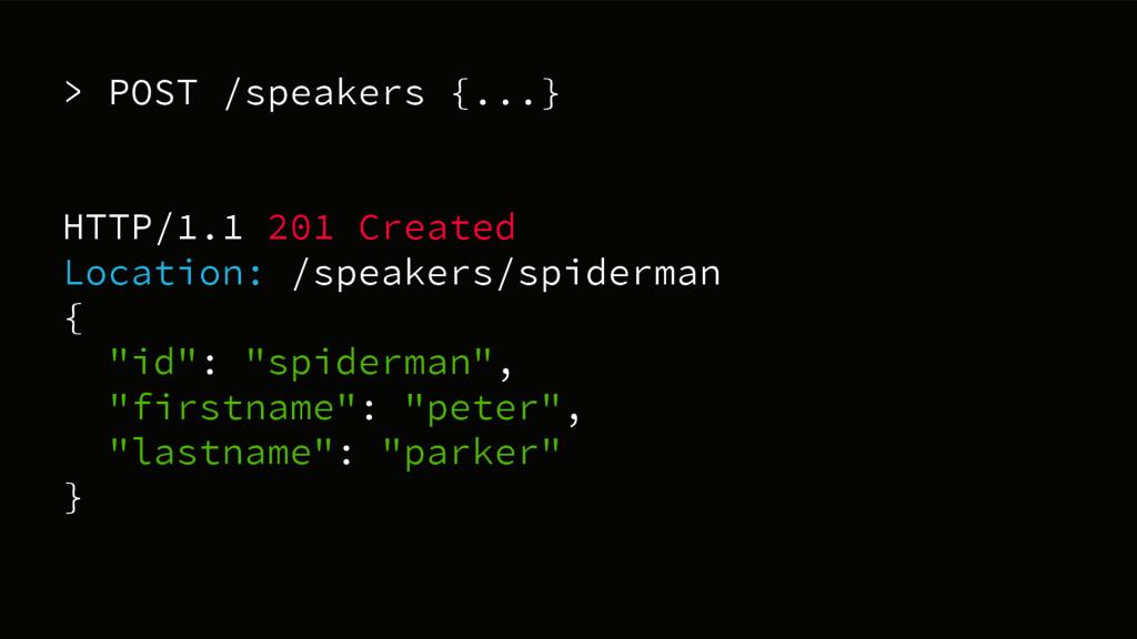 > POST /speakers {...} HTTP/1.1 201 Created Loc...