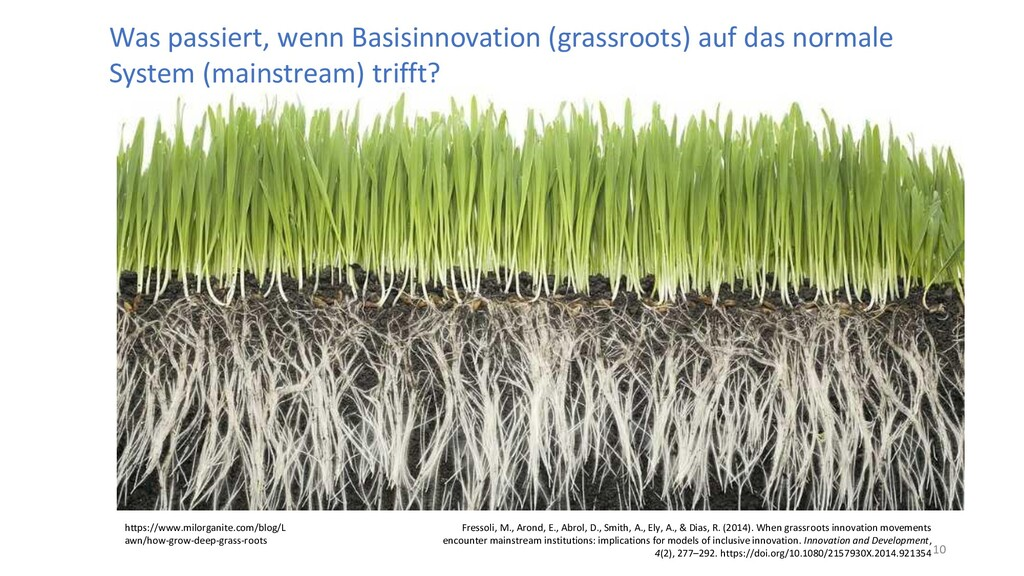 Was passiert, wenn Basisinnovation (grassroots)...