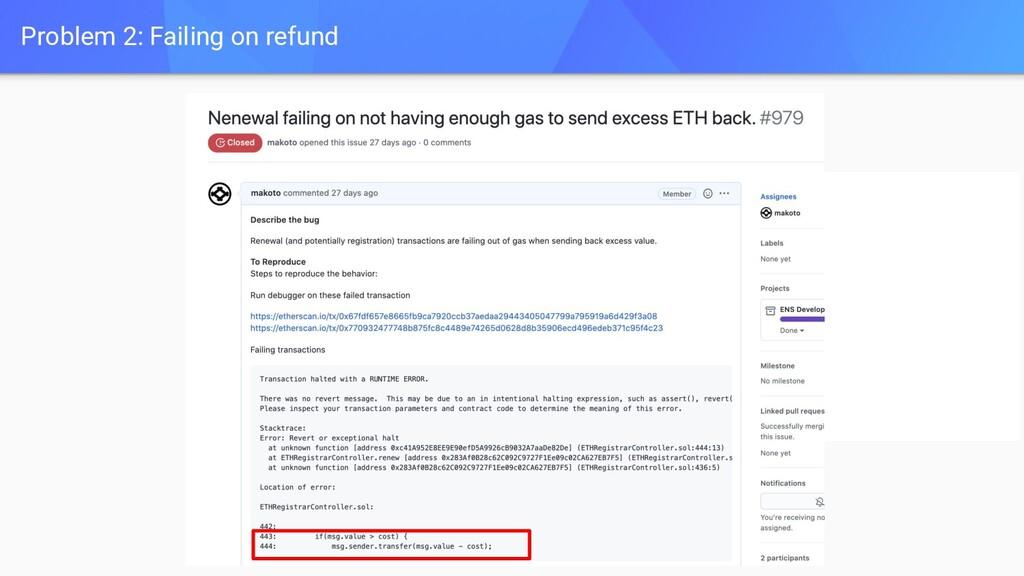 Problem 2: Failing on refund