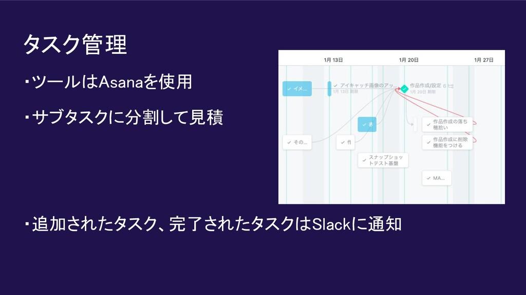 タスク管理 ・ツールはAsanaを使用 ・サブタスクに分割して見積   ・追加された...
